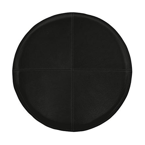 Sitzkissen Glattleder in rund ø 37 cm schwarz