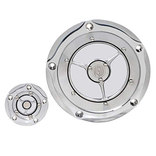 Chrome Timer Cover - Chrome Clear Derdy Timing Timer Cover for Harley Motorcycle Models Road King Street Glide Dyna Softail