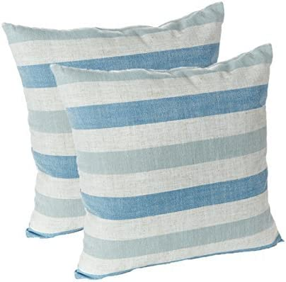 Gripper Cushions Liza Coastal Stripe 18 x 18 Blue Linen Decorative Accent Throw Pillows Set of 2
