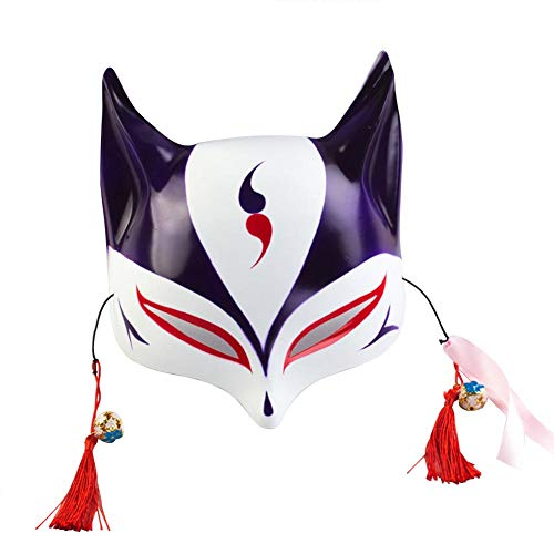 Fox Mask for Adults or Kids Japanese Kabuki Masquerade Costume Mask Halloween (Purple) -