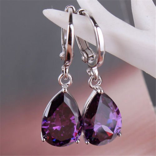 Trenro Women's Fashion 925 Solid Silver Stud Hoop Earrings Jewelry(Purple)