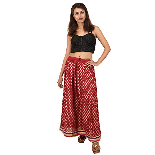 Indian Party/Casual Wear Flared Long Skirt,Leaf Design Printed Long Skirt (Maroon)