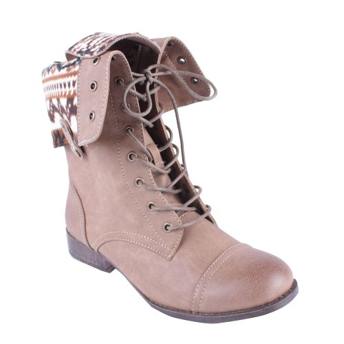 DBDK Sharper-1 Women's Lace Up Combat Style Mid Calf Boots, Color:Taupe, Size:10