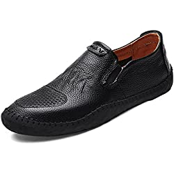 GIY Men Fashion Round Toe Comfortable Soft Loafers Slip-on Driving Walking Casual Flat Shoes