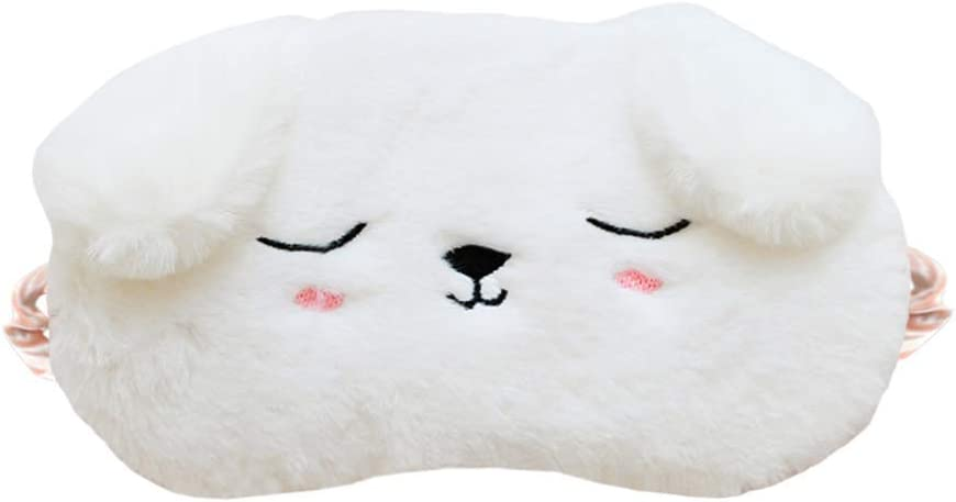 EleCharm Cute Animal Sleeping Mask Soft Plush Eye Mask Blindfold Cover for Kids Girls Women Home Sleeping Traveling (White Dog)