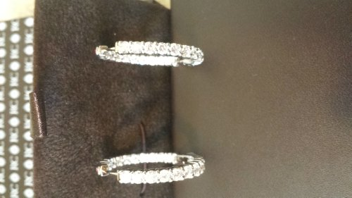 (ROBERTO COIN - The Perfect Diamond Hoop Earrings 35mm 3.43cts 18K White Gold - Retail Price $8,900, Pre-owned)