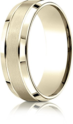 Benchmark 10k Yellow Gold 7mm Comfort-Fit Satin-Finished High Polished Beveled Edge Carved Dsn Band, 15