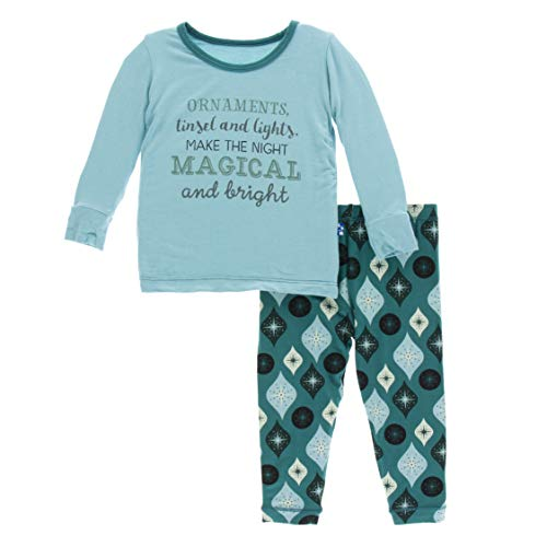 Kickee Pants Little Boys and Girls Holiday Long Sleeve Pajama Set, Cedar Vintage Ornaments, 3T