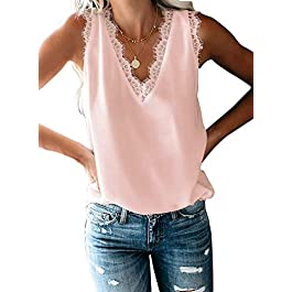 TIKSAWON Women's V Neck Lace Strappy Cami Tank Tops Summer Casual Loose fit Sleeveless Shirts Blouses