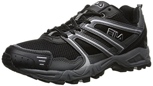 Fila Men's Ascente 8 Trail Running Shoe, Black/Castle Rock/Metallic Silver, 10 M US
