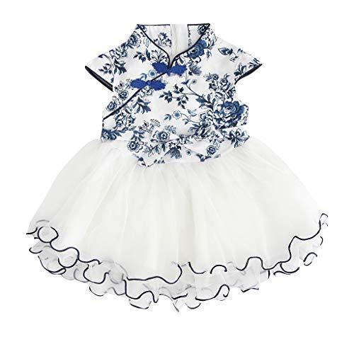 Youmymind Baby Girl Floral Printed Skirt Fashion Newborn Lace Patchwork Cheongsam Princess Dress (120, Blue)
