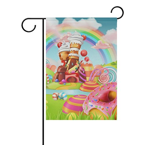 My Daily Sweet Candy Land Cartoon Decorative Double Sided Garden Flag 12 x 18 inch