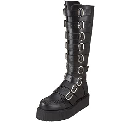 Pleaser Men's V-Creeper 585 Buckle-Up Boot,Black Polyurethane,15 M US