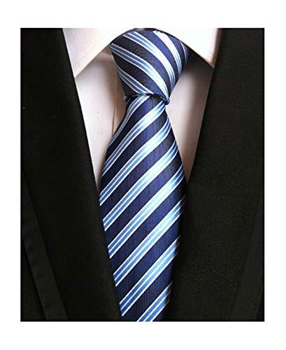 Tonal Silk Tie Blue (Men's Navy Blue Light Blue White Jacquard Woven Silk Ties Job Interviews Necktie)