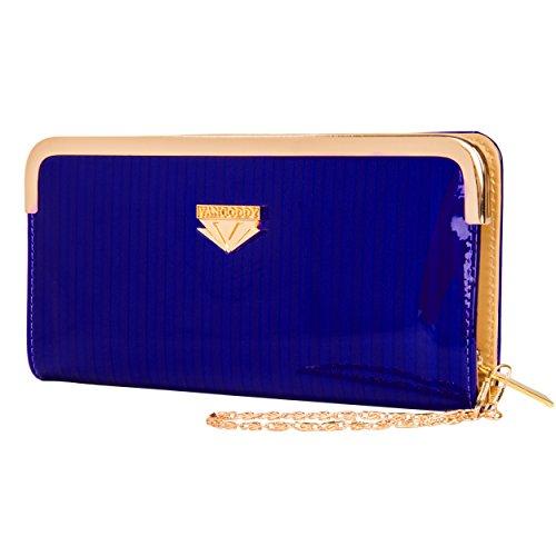 Vangoddy Zippy Women's Royal Blue Zippered Wallet Clutch