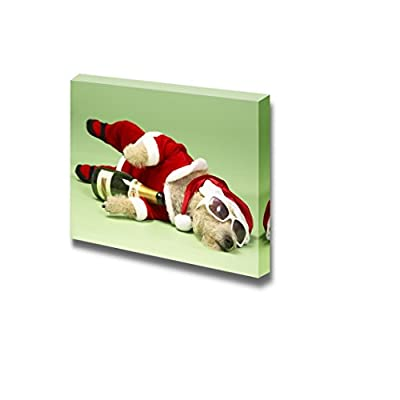 Canvas Prints Wall Art - Samll Dog in Santa Costume Lying Down with Champagne and Shades - 16