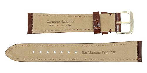 18mm Cognac Genuine Alligator - Padded Stitched – Glazed Shiny Larger Tile – Watch Strap Band - Gold & Silver Buckles Included – Factory Direct - Made in The USA by Real Leather Creations FBA355 by Real Leather Creations (Image #3)