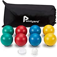 Pointyard Bocce Ball Set, Lighter 84mm Bocci Ball Set with 8 Soft PE Bocce Balls&1 Pallino&Carry Bag&a