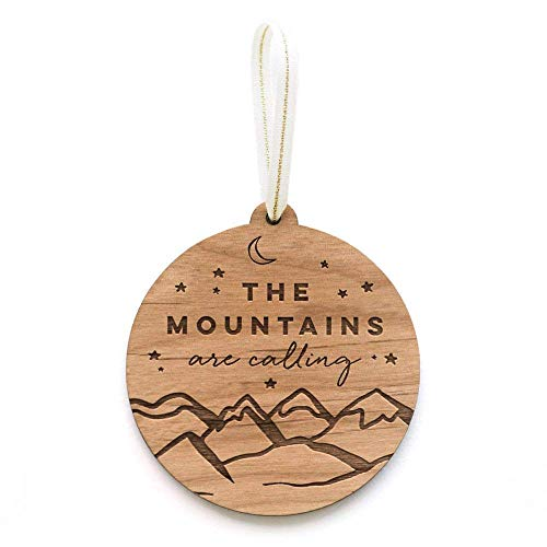 The Mountains are Calling Laser Cut Wood Ornament (Holiday/Adventure)