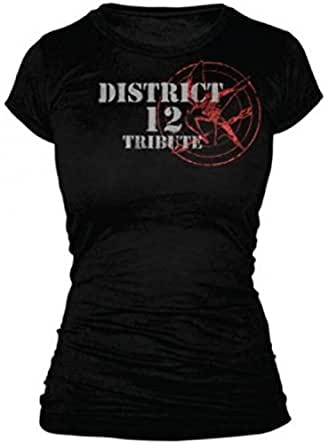The Hunger Games - Tribute Spray Juniors T-Shirt In Black, XS