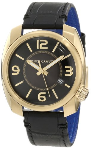 Vince Camuto Men's VC/1001BKGP The Pilot Black Dial Date Function Gold-Tone Watch