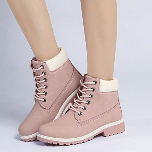 KaiCran for Ladies up Shoes Flat Martin Boots Boots Pink Boots Lace for Ankle Women SrFSwRq