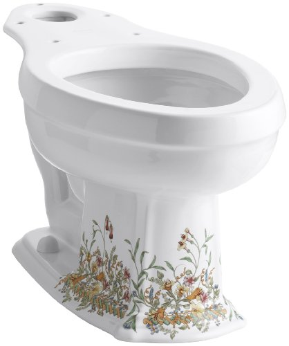 KOHLER K-14248-FL-0 English Trellis Toilet Bowl, White by Kohler