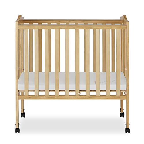 Dream On Me 2 in 1 Lightweight Folding Portable Stationary Side Crib 1 Drop Side Convertible Crib