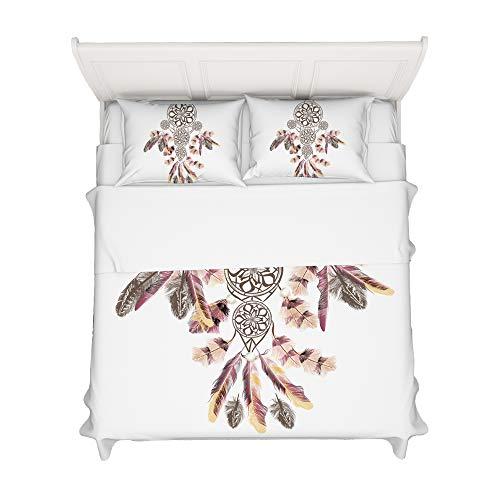 Jessy Home King Sheets Set,Bohemian Dreamcatcher Bedding,Feather Fitted Sheet+Flatsheet+Pillowcase
