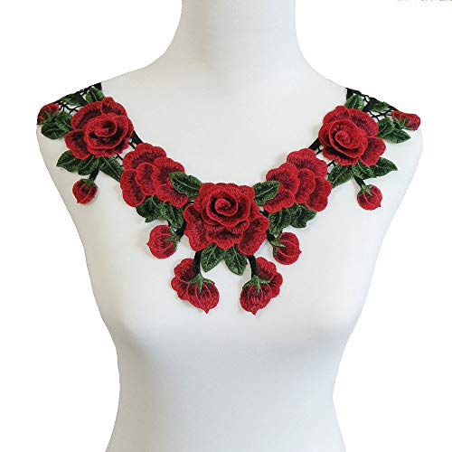 (Rose Floral Trim Venise Applique Motif Embroidered Collar Trimming Sew on Patches (Style C))