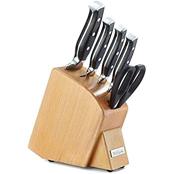McCook MC41 6 Pieces Forged Triple Rivet Kitchen Knife Set in Natural Beech Wood Slim Block Approved by FDA (Black)