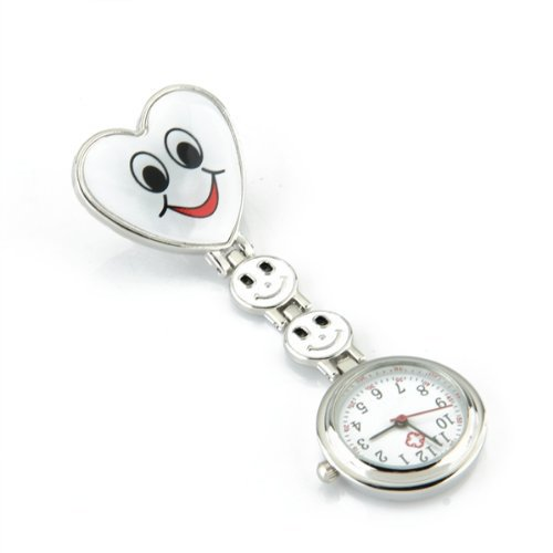 Watch Men Smiley Face (TOOGOO(R) White Heart Quartz Movement Clip Nurse Brooch Fob Tunic Watch Smiley Face)
