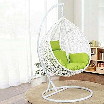 Hindoro White Colour Beautiful Swing with Green Cushion with Stand