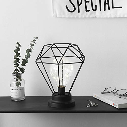 Warm White and Black Lewondr Table Lamp Metal Shade Edison Bulb Desk Light Diamond Metal Cage Style Battery Powered Ambient Lights for Bedroom Wedding Christmas Home Decoration