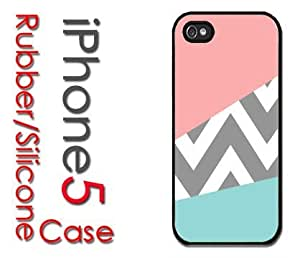 iPhone 5C (New Color Model) Rubber Silicone Case - Pink and Baby Blue Blocks with Grey Chevron Print pattern by lolosakes