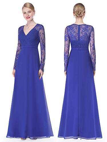 Ever-Pretty Womens Floor Length Ruched V-Neck Long Sleeve Evening Gown 4 US Saphire Blue