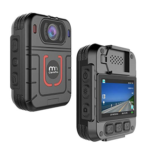 CammPro M831 HD 1296P Police Body Camera, Night Vision Wearable Camera, Warning Lights and Alarm, Built-in 64GB Memory,Waterproof, Motion Detection, Loop Record for Law Enforcement, Security Guard