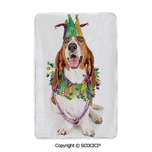 SCOCICI Ultra Comfortable,Cozy and Warm Carpet Blanket Happy Smiling Basset Hound Dog Wearing a Jester Hat Neck Garland Bead Necklace Decorative No Colour Fading Rug One Side Printed