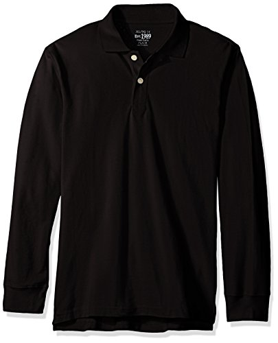 The Children's Place Big Boys' Long Sleeve Uniform Polo, Black, (Black Boys Long Sleeve Shirt)