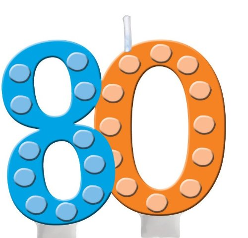 Creative Converting Bright and Bold 80th Birthday Molded Numeral Cake Candle]()
