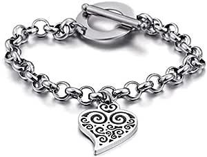 Silver bracelet for heart shaped women