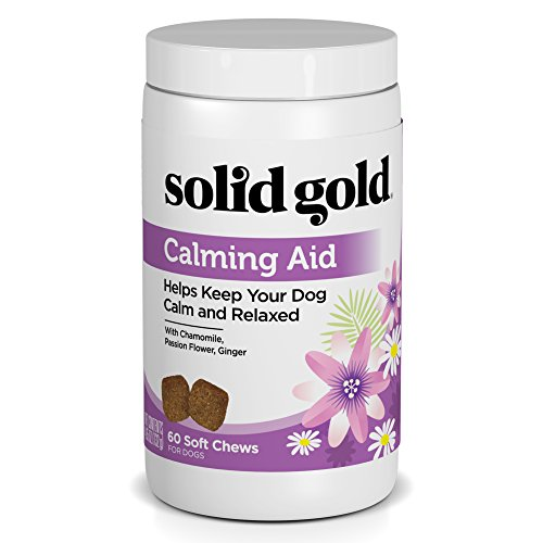 Solid Passion Flower - Solid Gold Calming Aid Chews for Dogs; Natural, Holistic Grain-Free Supplement with Chamomile, Passion Flower & Ginger; 60 chews