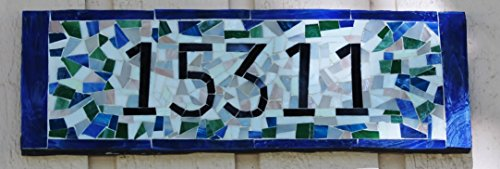 Custom House Numbers in Mosaic Glass Tile, Handmade Plaque,