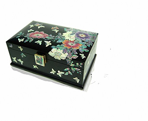 Mother of Pearl Flower & Butterfly Design Jewelry Box Display with Drawer Nacre Jewellry Case by JMcore High Quality Jewelry Box