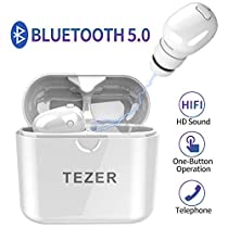 Timemaker True Wireless Bluetooth Earbuds, Latest Bluetooth 5.0 in Ear Earphones Mini Headphones Headset Built in Microphone & Dual Speakers with 8 Hours Talking Time for iPhone and Android Smart Phones, Black/ White