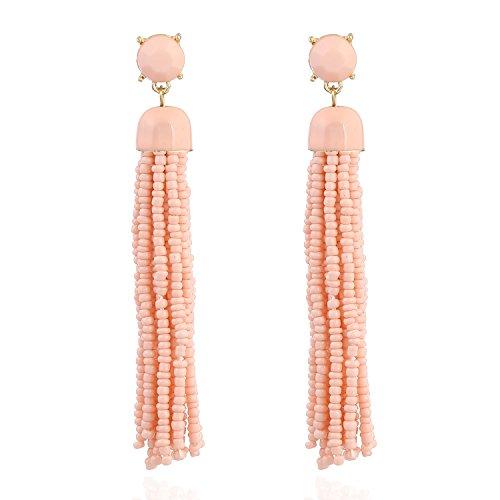 (D EXCEED Women's Bohemian Tassel Earrings Long Statement Earrings Blush Pink Seed Bead Fringe Dangle Earrings for Her)