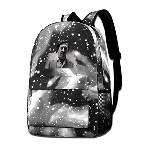 DONALDDAVISZ Unisex Mens Women Outdoor Cool Pablo Escobar Music Band Anime Cartoon Fans Shoulder Bag Backpack with The Star Starry Sky Background Gift Gray