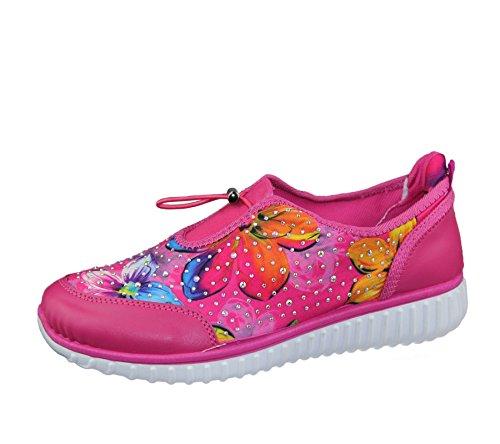 KOLLACHE Damen Floral Print mit verziert Schuhe Damen Walking Fashion Trainer Größe Rose