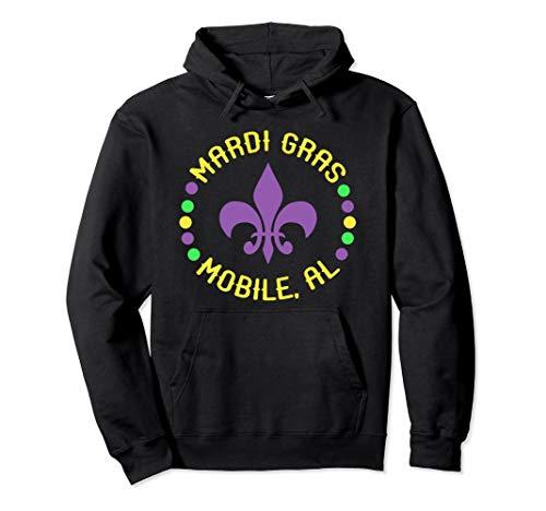 Mardi Gras Mobile Hoodie Mobile AL Fleur De Lis Beads ()