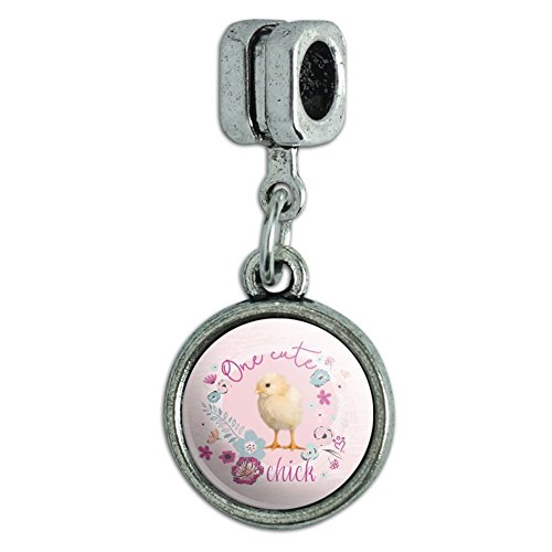 Graphics and More One Cute Chick Chicken Easter Spring Italian European Style Bracelet Charm Bead
